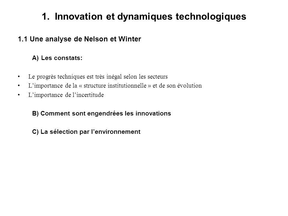 1. Innovation et dynamiques technologiques