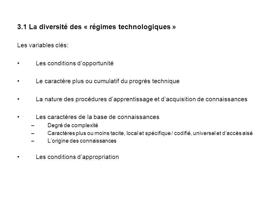 3.1 La diversité des « régimes technologiques »