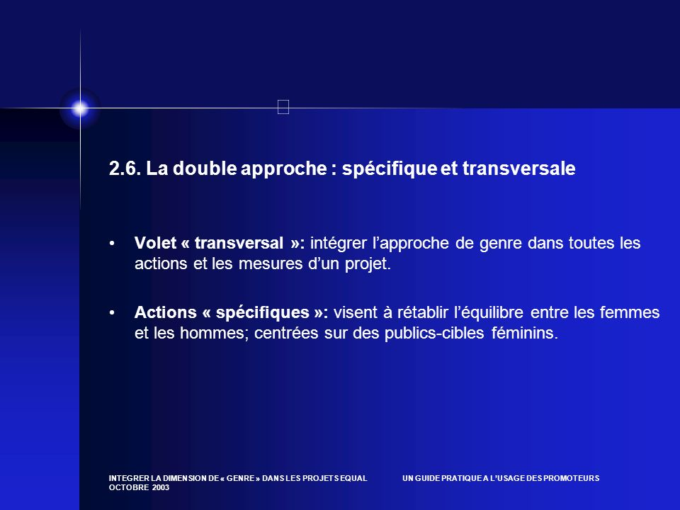 2.6. La double approche : spécifique et transversale