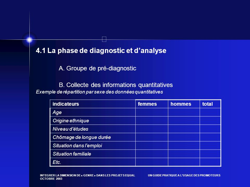4.1 La phase de diagnostic et d'analyse
