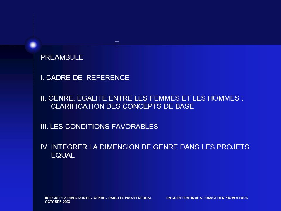 III. LES CONDITIONS FAVORABLES