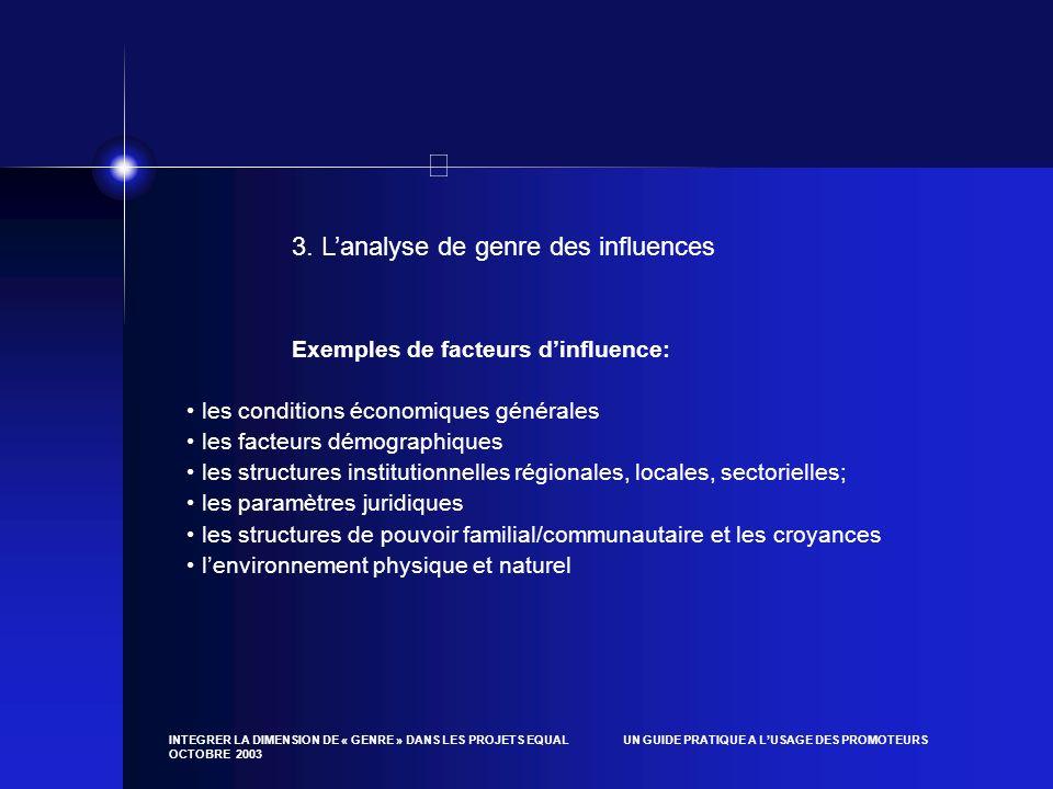 3. L'analyse de genre des influences