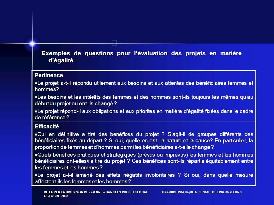 Exemples de questions pour l'évaluation des projets en matière d'égalité