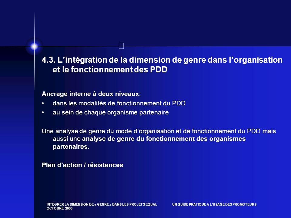 4.3. L'intégration de la dimension de genre dans l'organisation et le fonctionnement des PDD