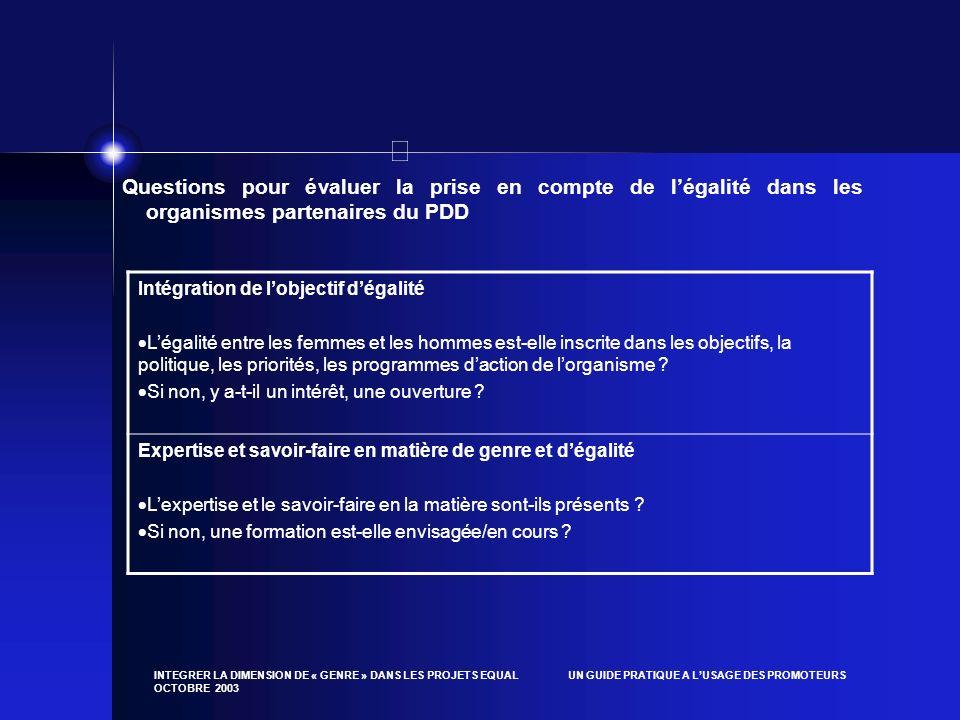 Questions pour évaluer la prise en compte de l'égalité dans les organismes partenaires du PDD