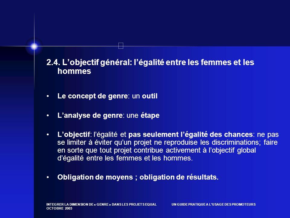 2.4. L'objectif général: l'égalité entre les femmes et les hommes