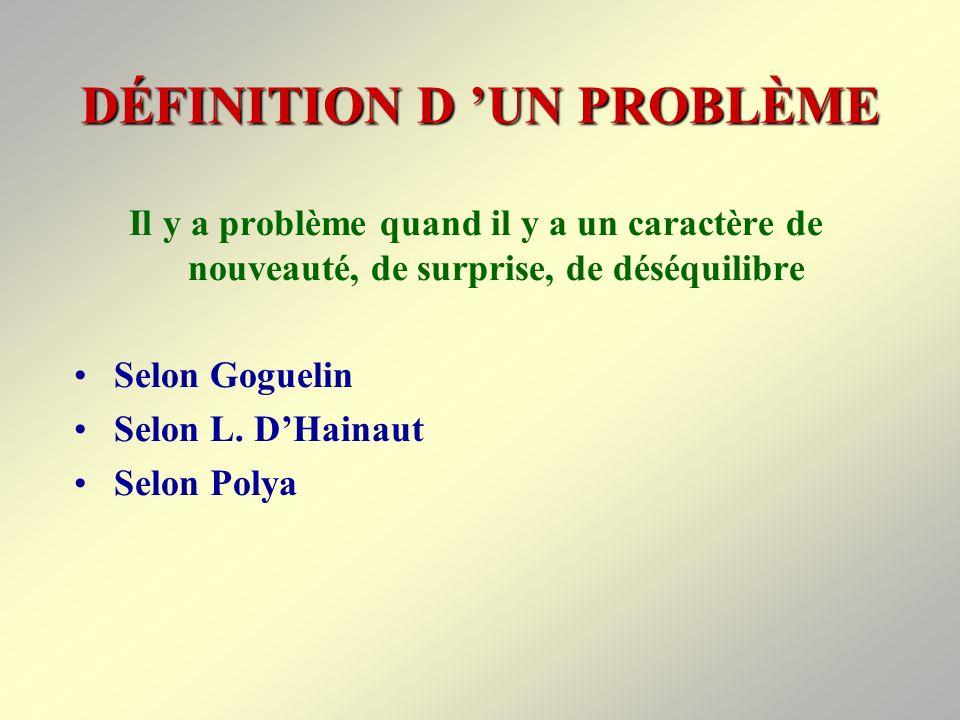 DÉFINITION D 'UN PROBLÈME