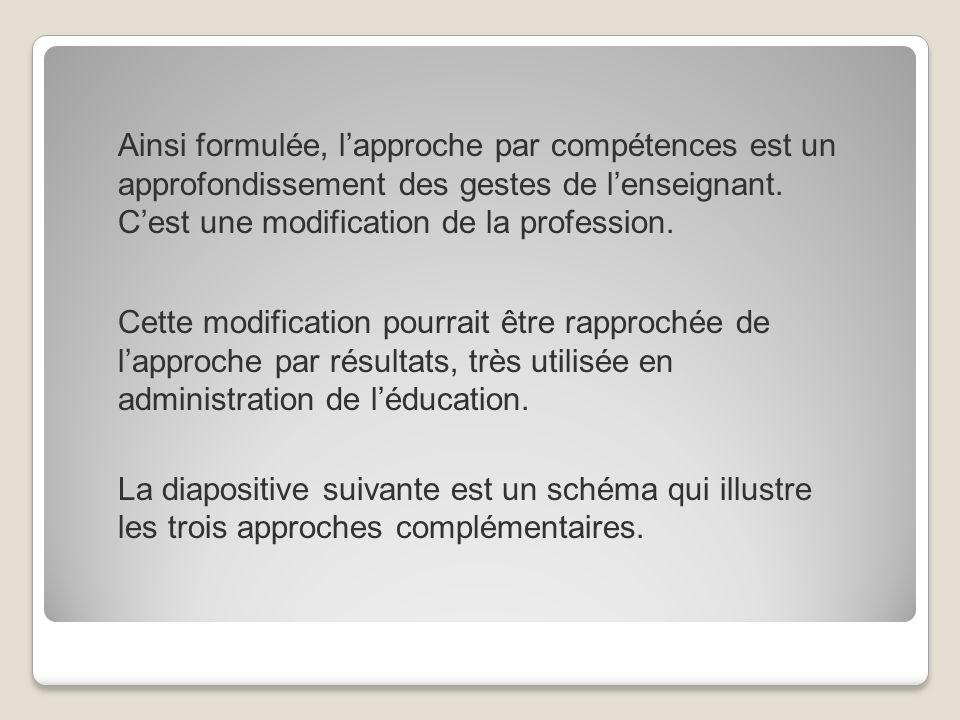 Ainsi formulée, l'approche par compétences est un approfondissement des gestes de l'enseignant. C'est une modification de la profession.