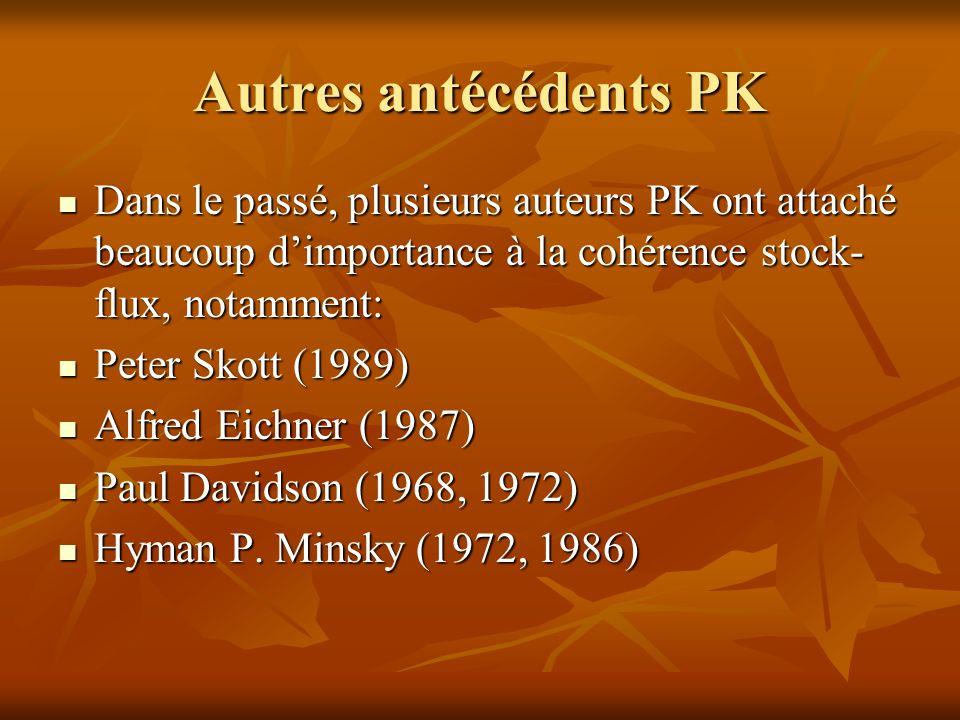 Autres antécédents PK Dans le passé, plusieurs auteurs PK ont attaché beaucoup d'importance à la cohérence stock-flux, notamment: