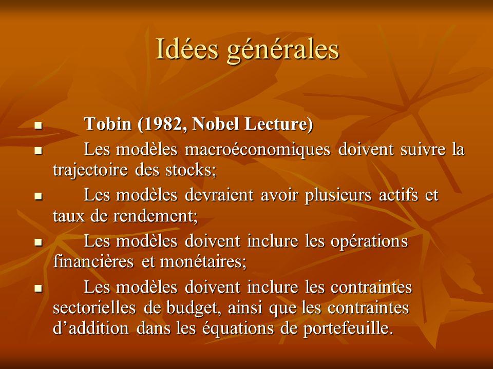 Idées générales Tobin (1982, Nobel Lecture)