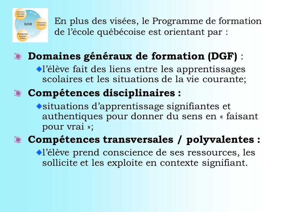 Domaines généraux de formation (DGF) :
