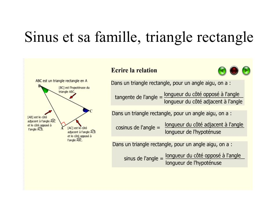 Sinus et sa famille, triangle rectangle