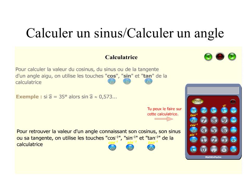 Calculer un sinus/Calculer un angle