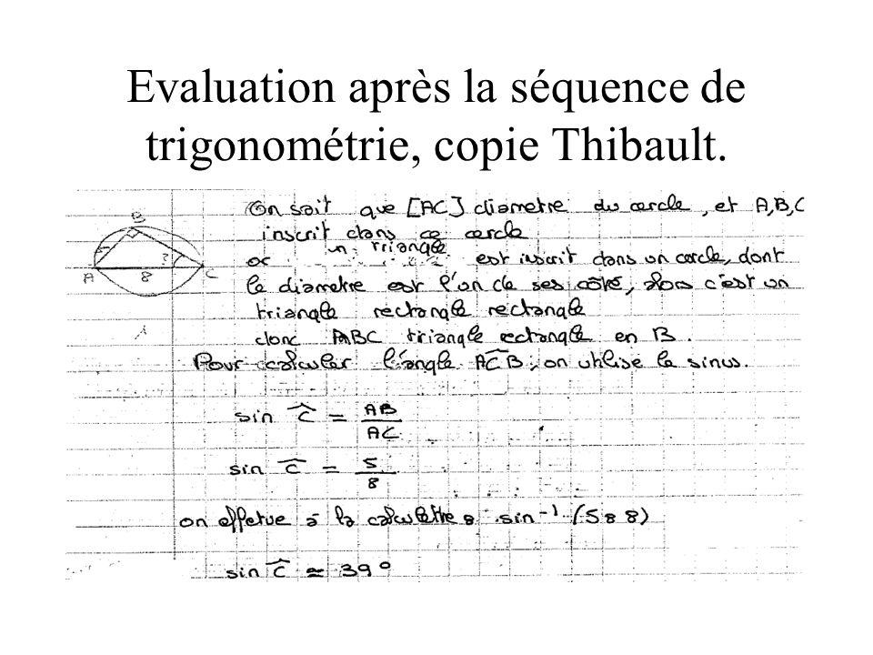 Evaluation après la séquence de trigonométrie, copie Thibault.