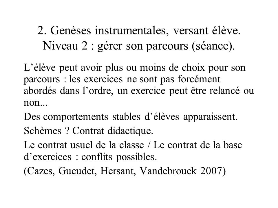 2. Genèses instrumentales, versant élève