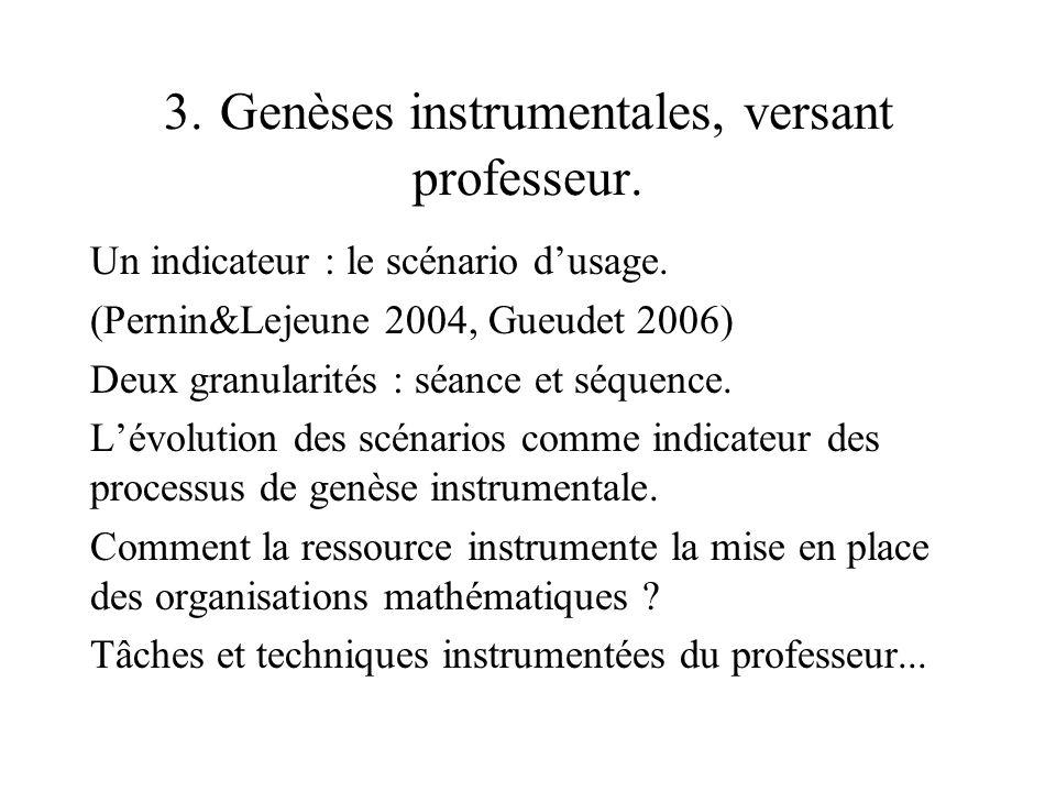 3. Genèses instrumentales, versant professeur.
