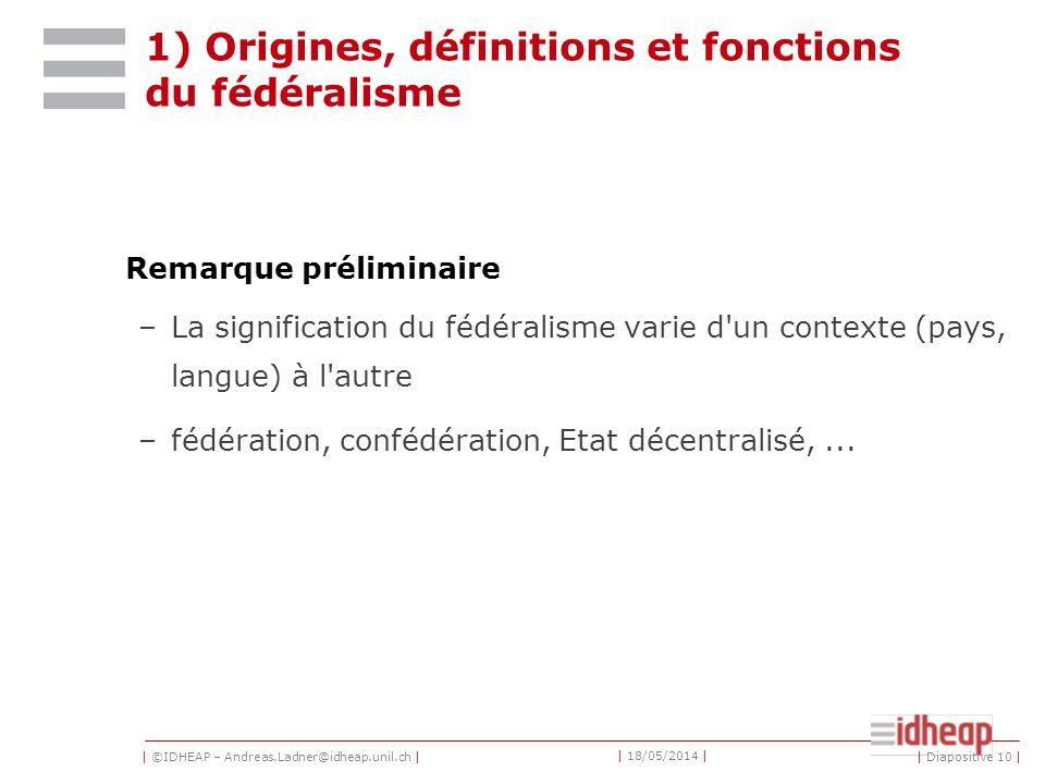 1) Origines, définitions et fonctions du fédéralisme