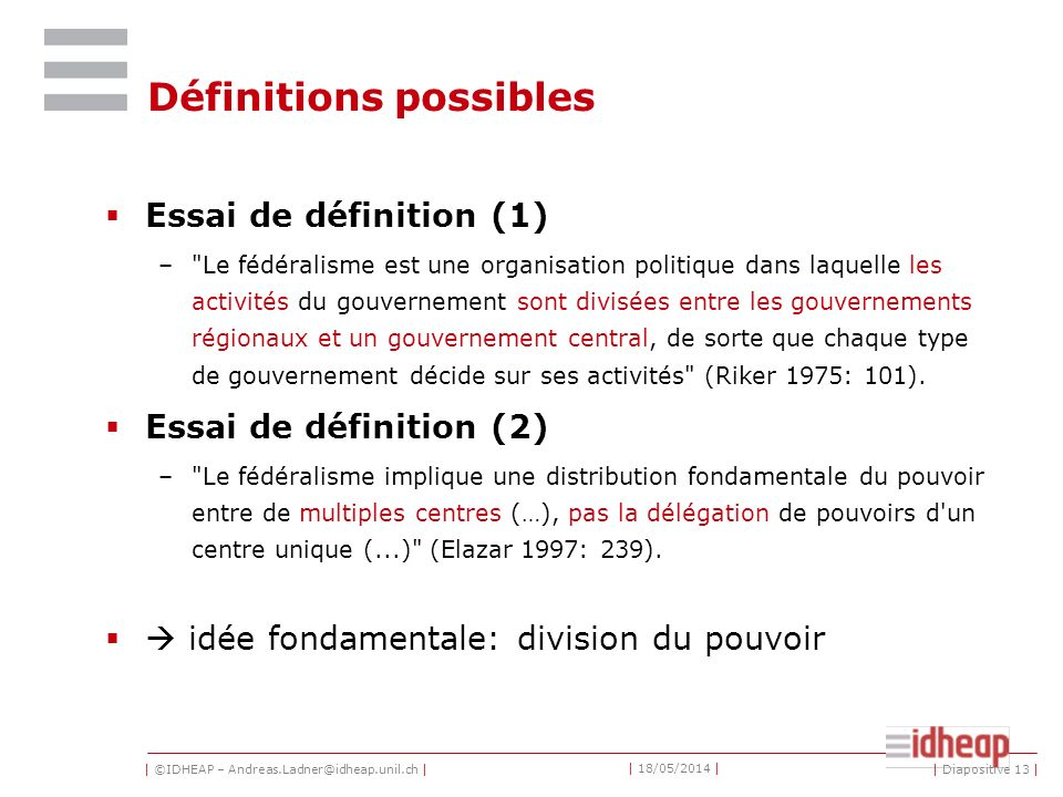 Définitions possibles