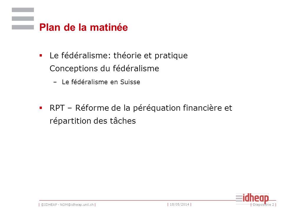 Plan de la matinée Le fédéralisme: théorie et pratique Conceptions du fédéralisme. Le fédéralisme en Suisse.