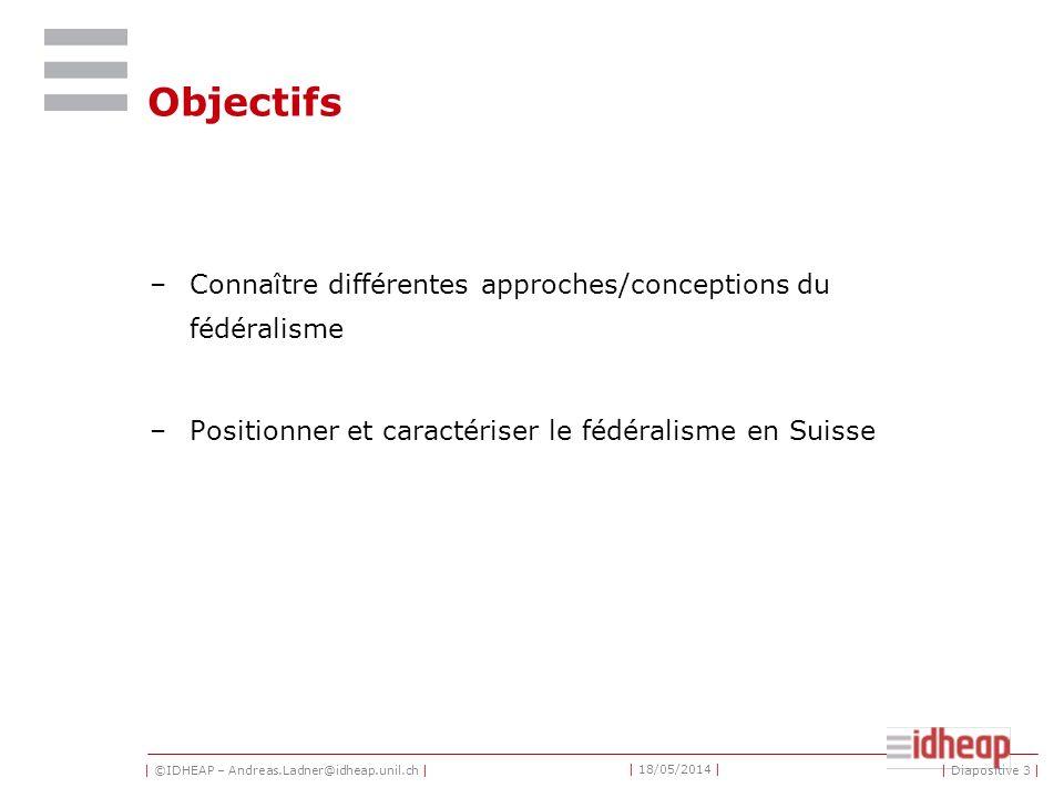 Objectifs Connaître différentes approches/conceptions du fédéralisme