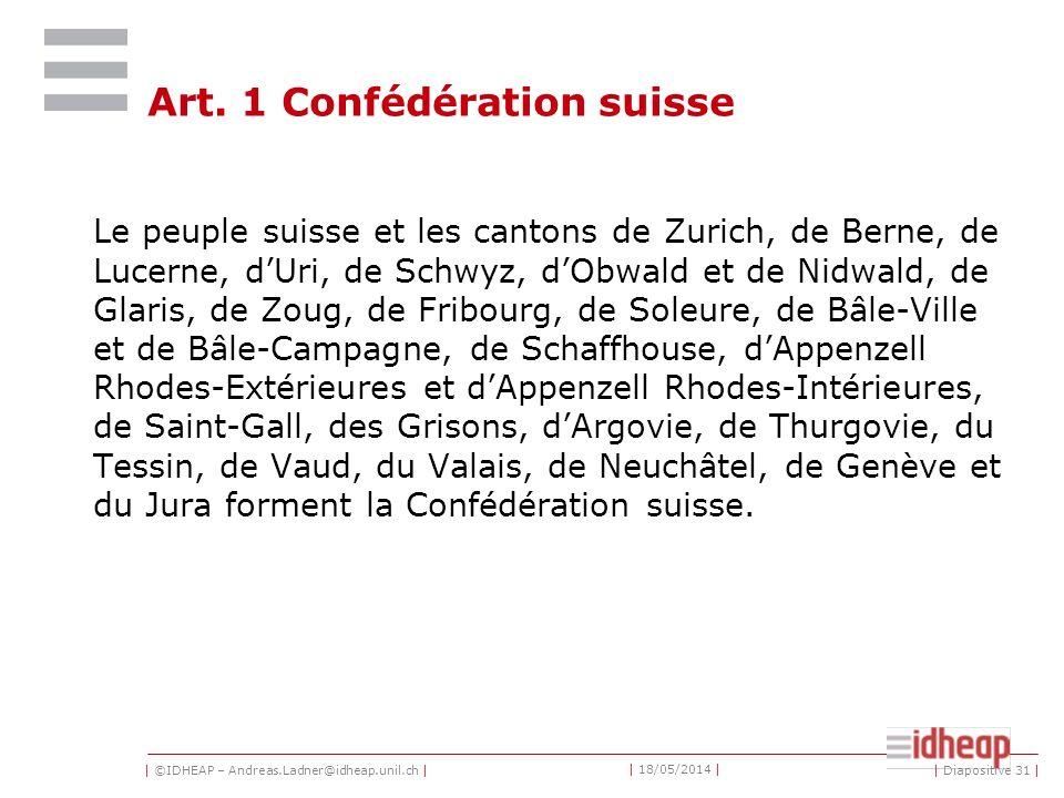 Art. 1 Confédération suisse