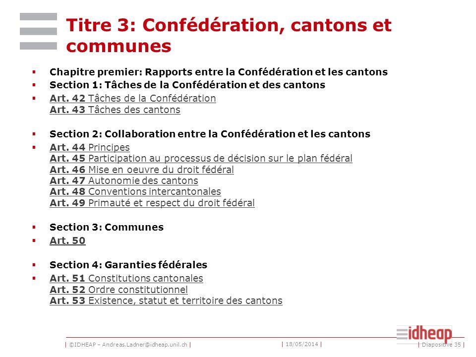 Titre 3: Confédération, cantons et communes