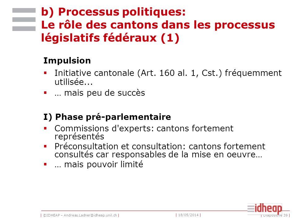 b) Processus politiques: Le rôle des cantons dans les processus législatifs fédéraux (1)