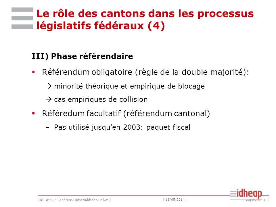 Le rôle des cantons dans les processus législatifs fédéraux (4)