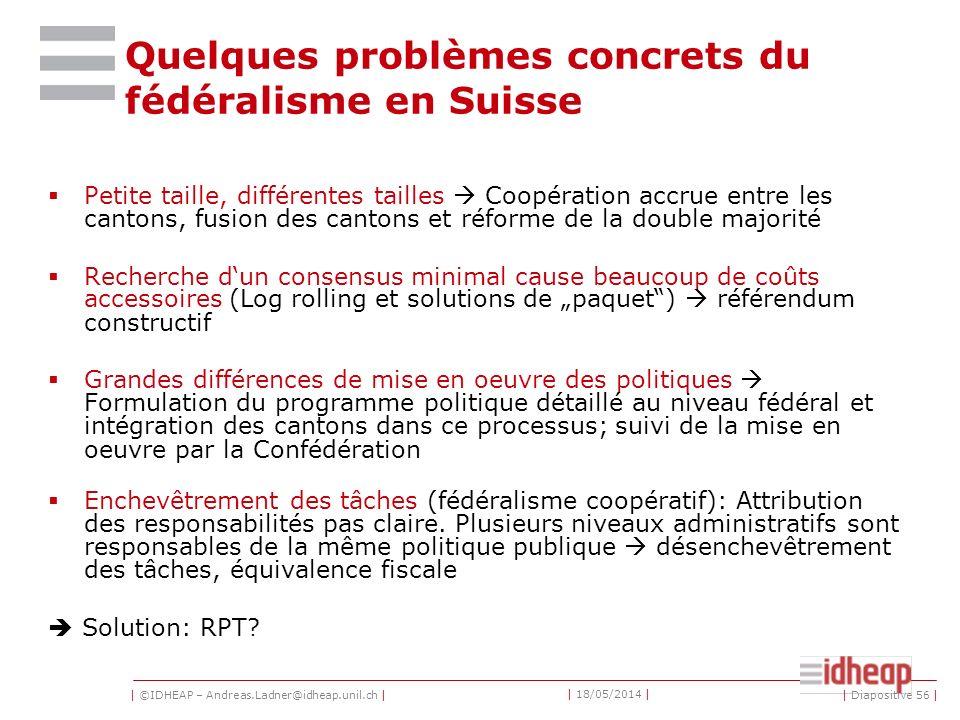Quelques problèmes concrets du fédéralisme en Suisse