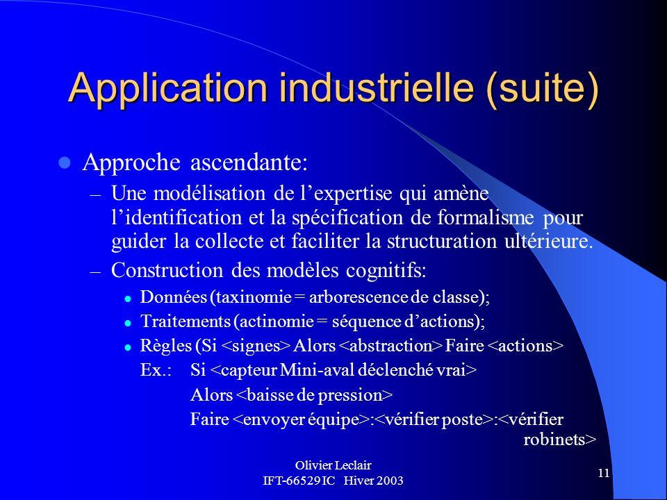 Application industrielle (suite)
