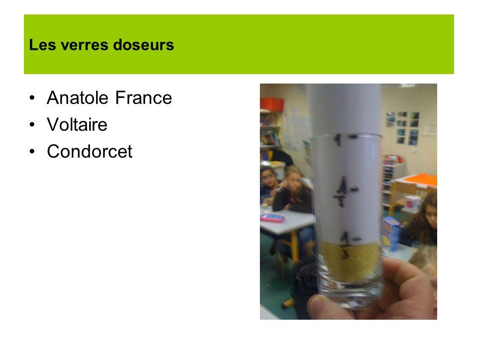 Les verres doseurs Anatole France Voltaire Condorcet