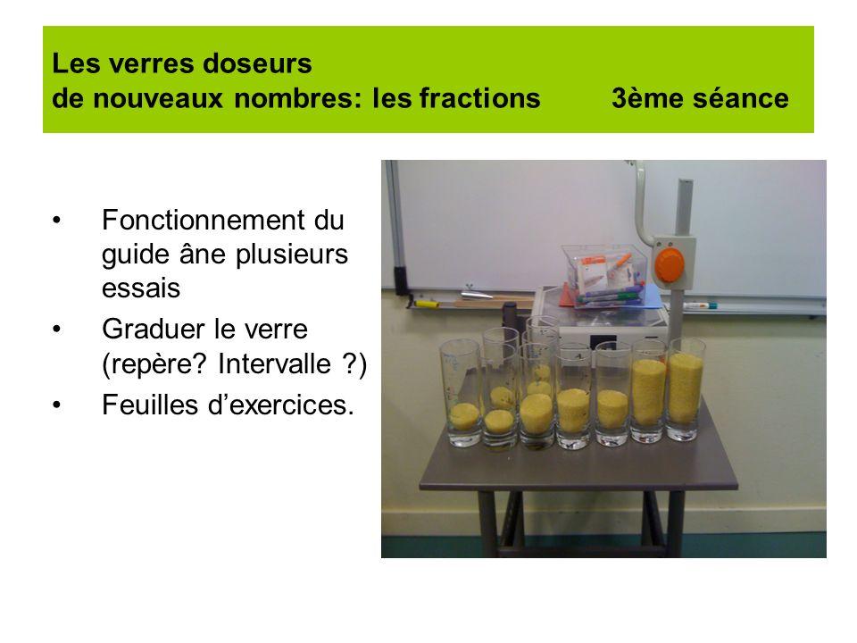 Les verres doseurs de nouveaux nombres: les fractions 3ème séance