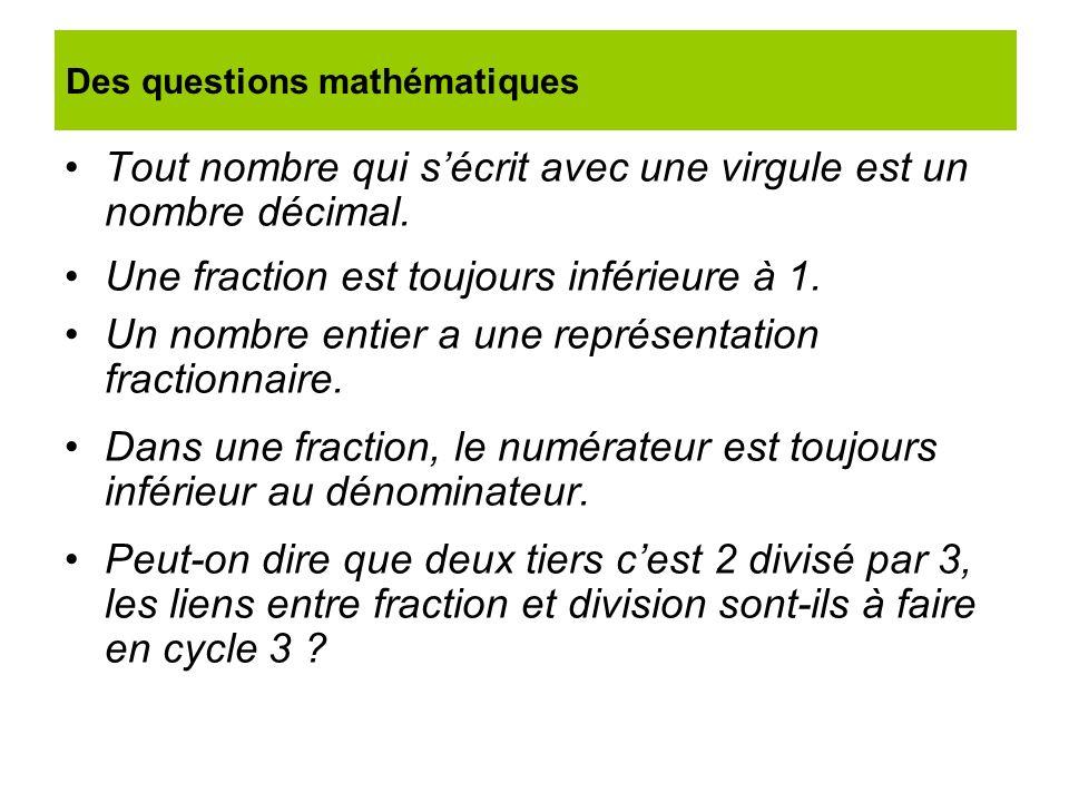 Des questions mathématiques
