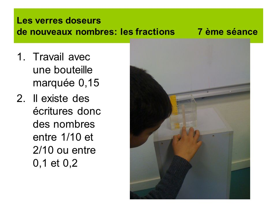 Les verres doseurs de nouveaux nombres: les fractions 7 ème séance