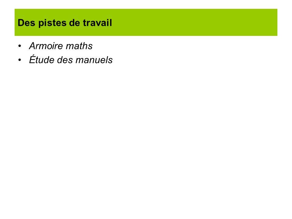 Des pistes de travail Armoire maths Étude des manuels