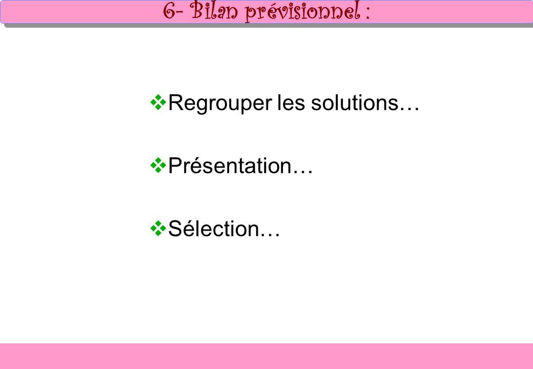 6- Bilan prévisionnel : Regrouper les solutions… Présentation…