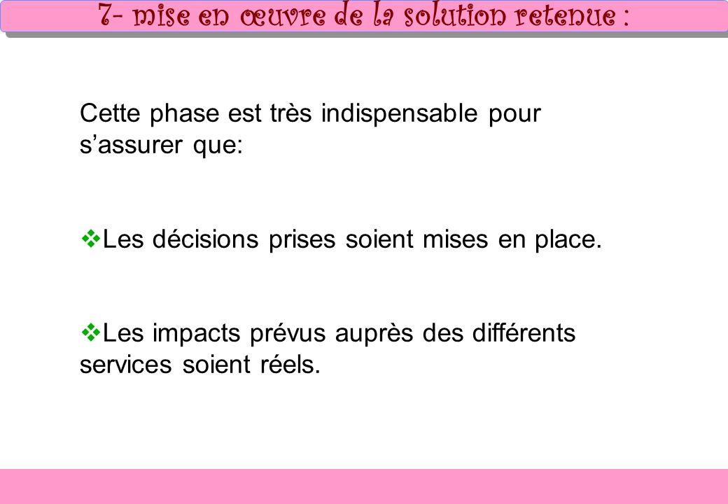 7- mise en œuvre de la solution retenue :