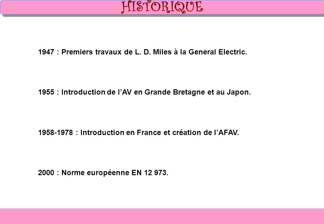 HISTORIQUE 1947 : Premiers travaux de L. D. Miles à la General Electric. 1955 : Introduction de l'AV en Grande Bretagne et au Japon.