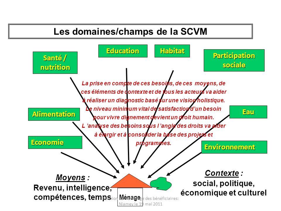 Les domaines/champs de la SCVM