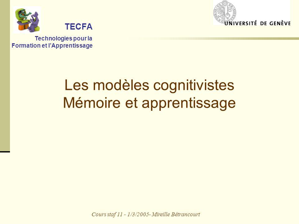 Les modèles cognitivistes Mémoire et apprentissage