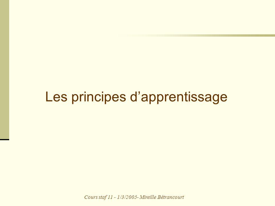 Les principes d'apprentissage