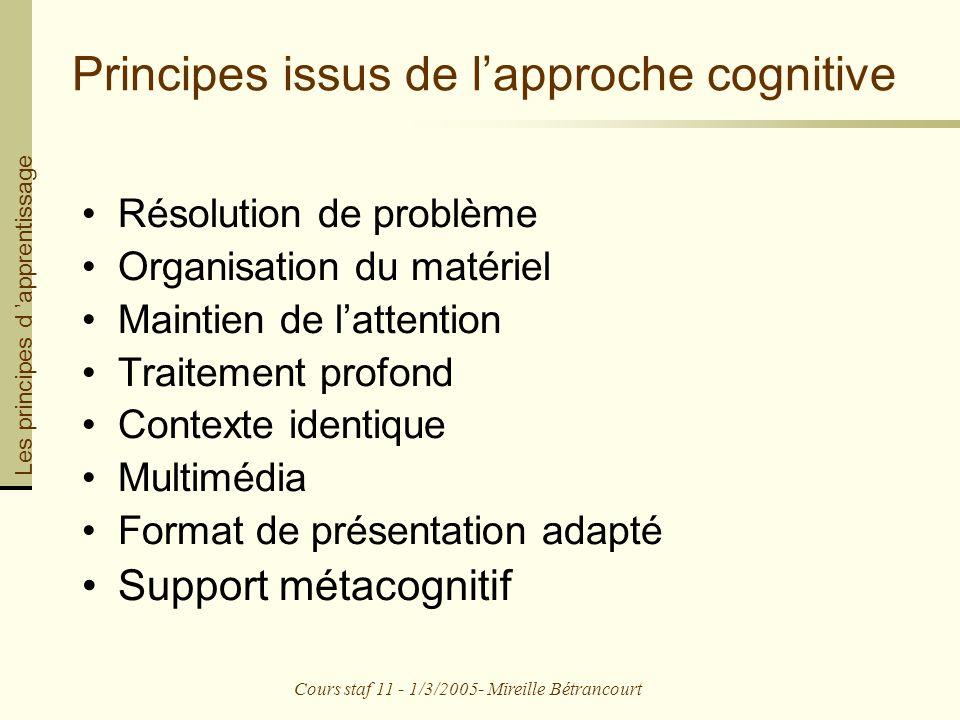 Principes issus de l'approche cognitive
