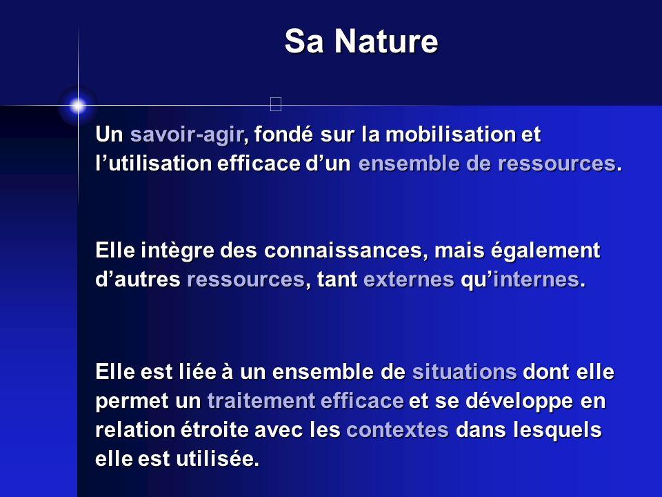 Sa Nature Un savoir-agir, fondé sur la mobilisation et l'utilisation efficace d'un ensemble de ressources.