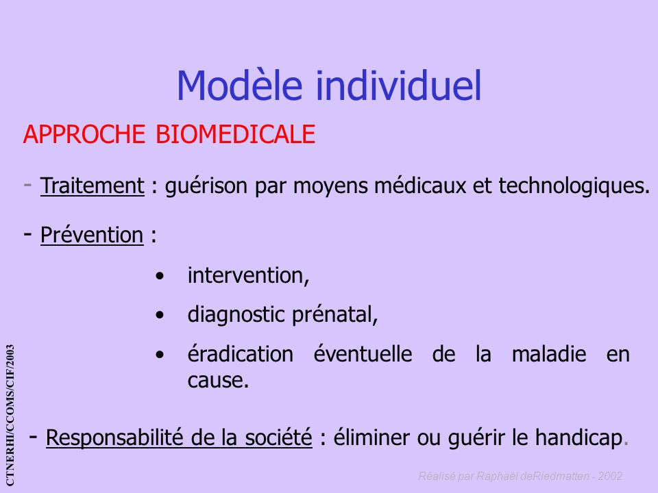 Modèle individuel APPROCHE BIOMEDICALE