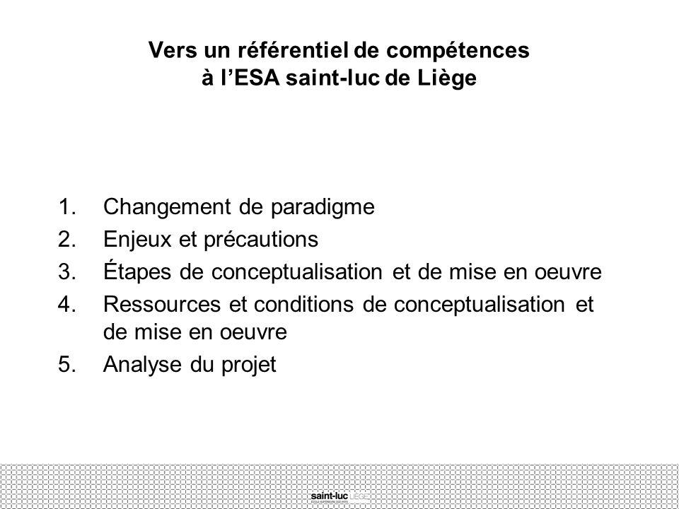 Vers un référentiel de compétences à l'ESA saint-luc de Liège