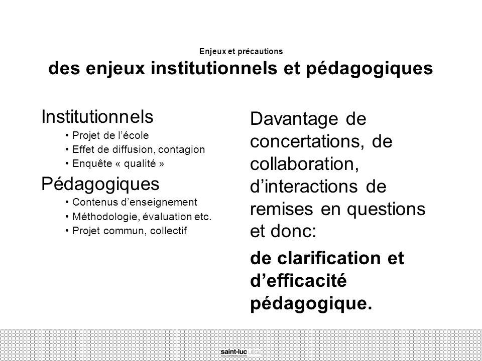 Enjeux et précautions des enjeux institutionnels et pédagogiques