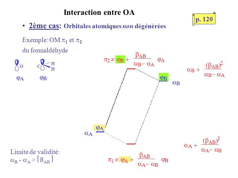 2ème cas: Orbitales atomiques non dégénérées