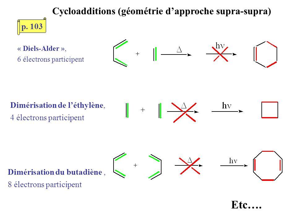 Cycloadditions (géométrie d'approche supra-supra)