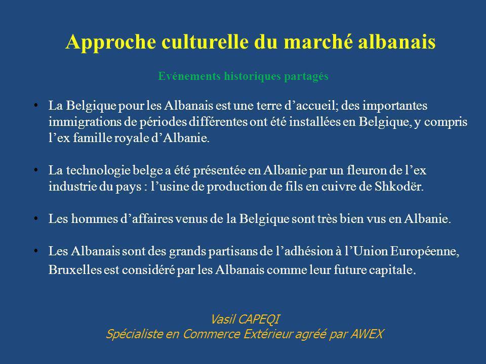 Approche culturelle du marché albanais Evénements historiques partagés