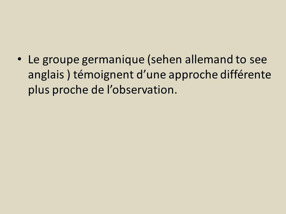 Le groupe germanique (sehen allemand to see anglais ) témoignent d'une approche différente plus proche de l'observation.